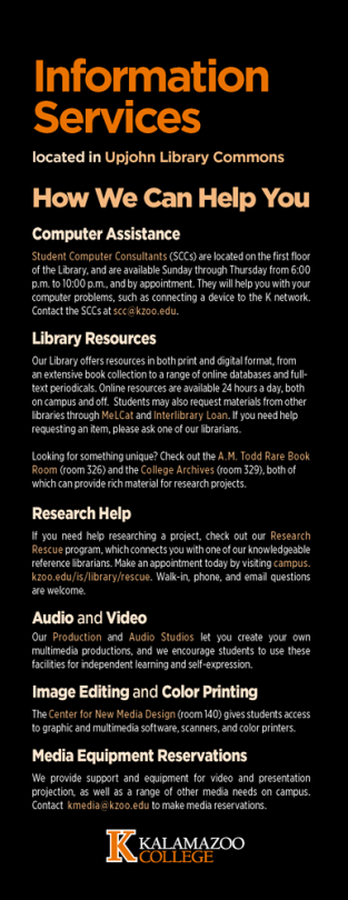 """Information Services Student Guide, """"How We Can Help"""""""